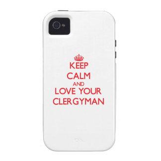 Guarde la calma y ame a su clérigo vibe iPhone 4 funda