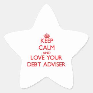 Guarde la calma y ame a su consejero de la deuda calcomania cuadrada personalizada