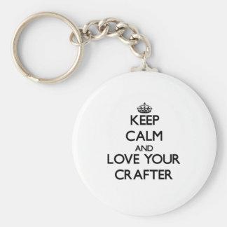 Guarde la calma y ame a su Crafter Llavero Personalizado