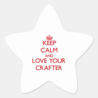 Guarde la calma y ame a su Crafter Calcomanía Forma De Estrella Personalizada