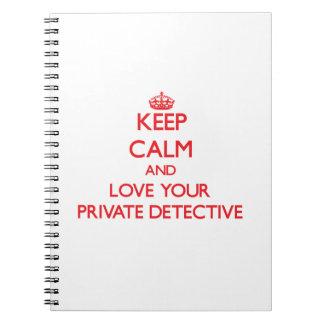 Guarde la calma y ame a su detective privado libros de apuntes con espiral