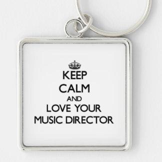 Guarde la calma y ame a su director musical llavero cuadrado plateado