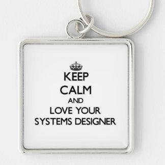 Guarde la calma y ame a su diseñador de sistemas llaveros personalizados
