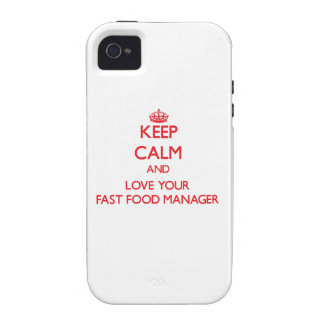 Guarde la calma y ame a su encargado de los alimen Case-Mate iPhone 4 funda