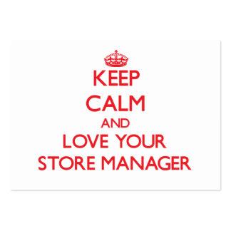 Guarde la calma y ame a su encargado de tienda plantillas de tarjetas personales