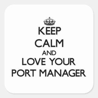 Guarde la calma y ame a su encargado del puerto calcomanías cuadradass