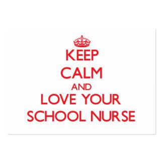 Guarde la calma y ame a su enfermera de la escuela plantilla de tarjeta de visita