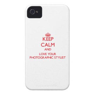Guarde la calma y ame a su estilista fotográfico iPhone 4 Case-Mate cárcasa