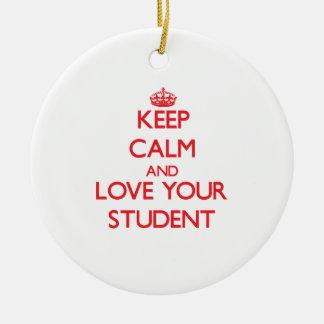 Guarde la calma y ame a su estudiante ornamento de navidad