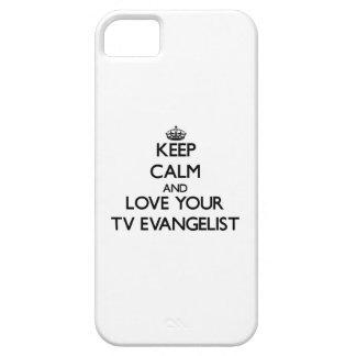 Guarde la calma y ame a su evangelista de la TV iPhone 5 Case-Mate Funda
