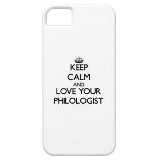 Guarde la calma y ame a su filólogo iPhone 5 cárcasas