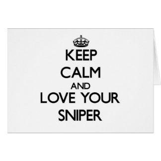 Guarde la calma y ame a su francotirador tarjeta pequeña