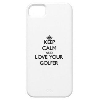 Guarde la calma y ame a su golfista iPhone 5 Case-Mate protector