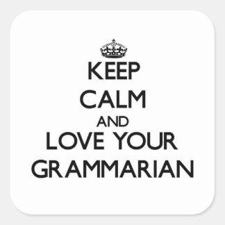 Guarde la calma y ame a su gramático pegatinas cuadradases personalizadas