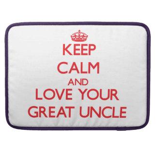 Guarde la calma y ame a su gran tío fundas para macbooks