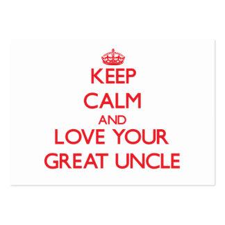 Guarde la calma y ame a su gran tío tarjeta de negocio
