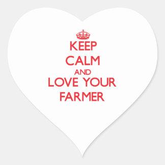 Guarde la calma y ame a su granjero calcomania corazon personalizadas