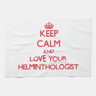 Guarde la calma y ame a su helmintologista toalla de cocina