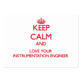 Guarde la calma y ame a su ingeniero de la instrum plantilla de tarjeta de negocio