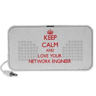 Guarde la calma y ame a su ingeniero de la red laptop altavoz