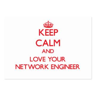 Guarde la calma y ame a su ingeniero de la red tarjetas de visita grandes