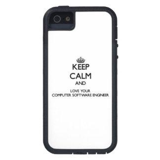 Guarde la calma y ame a su ingeniero de los iPhone 5 protector