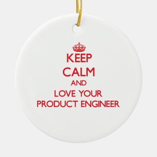 Guarde la calma y ame a su ingeniero del producto ornamento para reyes magos