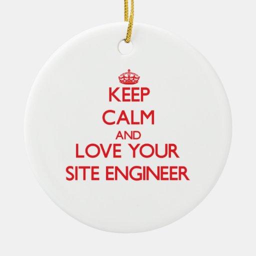 Guarde la calma y ame a su ingeniero del sitio ornamento para reyes magos