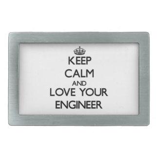 Guarde la calma y ame a su ingeniero hebilla de cinturón rectangular