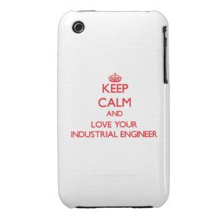 Guarde la calma y ame a su ingeniero industrial iPhone 3 Case-Mate cárcasa