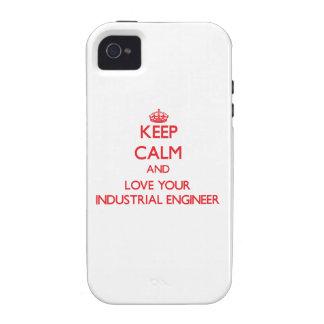 Guarde la calma y ame a su ingeniero industrial vibe iPhone 4 carcasa