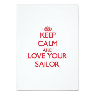"""Guarde la calma y ame a su marinero invitación 5"""" x 7"""""""