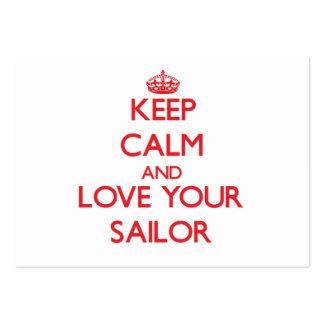 Guarde la calma y ame a su marinero tarjetas de visita grandes