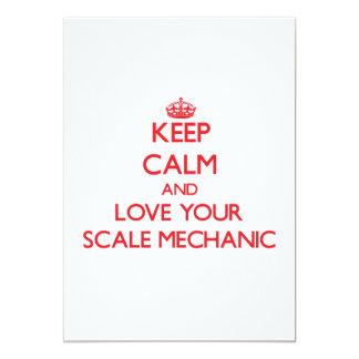Guarde la calma y ame a su mecánico de la escala invitación 12,7 x 17,8 cm