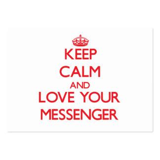 Guarde la calma y ame a su mensajero tarjetas de visita grandes