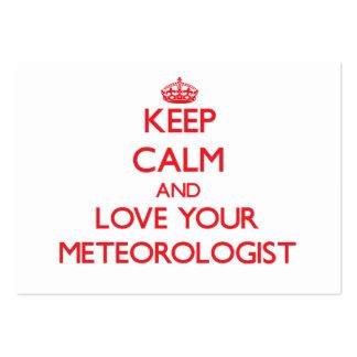 Guarde la calma y ame a su meteorólogo tarjetas personales