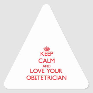 Guarde la calma y ame a su obstétrico calcomanías de triangulos personalizadas