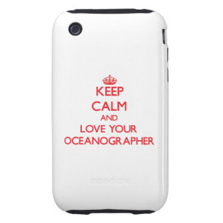 Guarde la calma y ame a su oceanógrafo iPhone 3 tough fundas