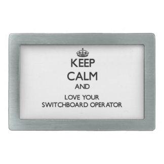 Guarde la calma y ame a su operador de centralita  hebillas cinturón rectangulares
