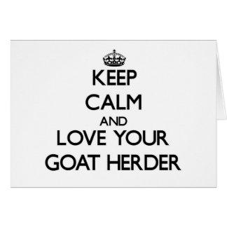 Guarde la calma y ame a su pastor de la cabra tarjetas