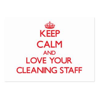 Guarde la calma y ame a su personal de limpieza tarjetas de visita grandes