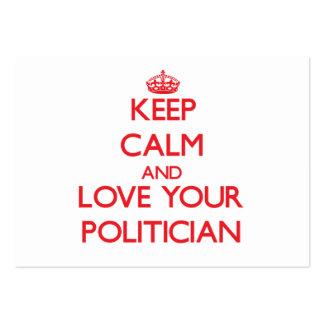 Guarde la calma y ame a su político tarjetas de visita grandes