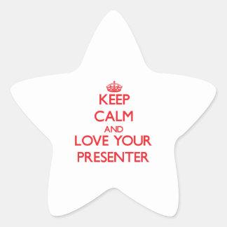 Guarde la calma y ame a su presentador calcomania forma de estrella personalizada