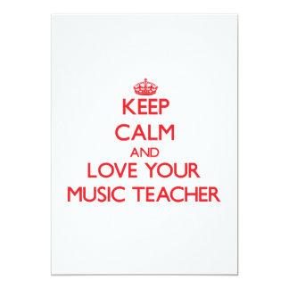 Guarde la calma y ame a su profesor de música invitación 12,7 x 17,8 cm