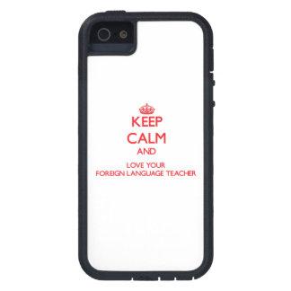 Guarde la calma y ame a su profesor del idioma ext iPhone 5 fundas