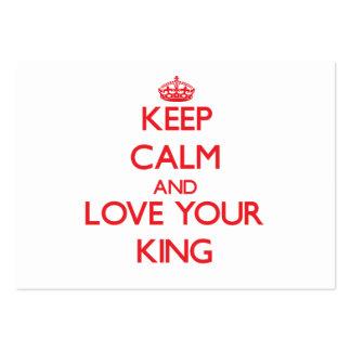 Guarde la calma y ame a su rey plantilla de tarjeta personal