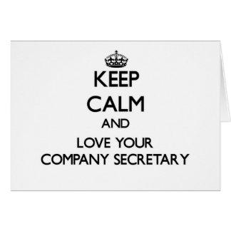 Guarde la calma y ame a su secretario de la empres tarjeta