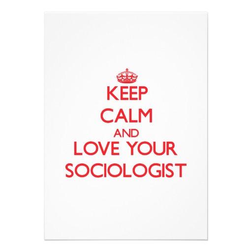 Guarde la calma y ame a su sociólogo invitación personalizada