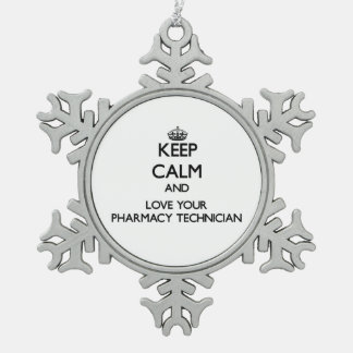Guarde la calma y ame a su técnico de la farmacia adorno de peltre en forma de copo de nieve