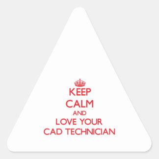 Guarde la calma y ame a su técnico del cad pegatina triangular
